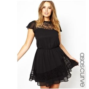 ASOS Curve Black Lace Panel Dress